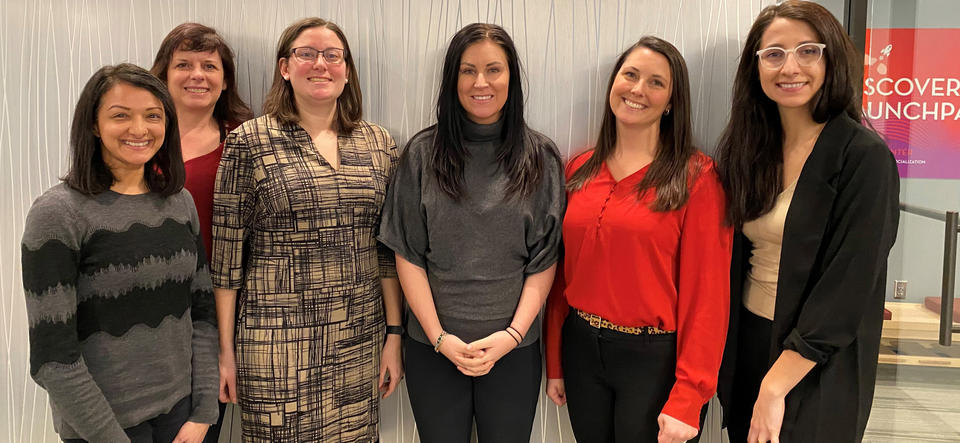 The inaugural 3M Venture Fellows (from left): Priyanka Nepal, Mary MacCarthy (University of Minnesota Venture Center), Corinne Lipscomb, Lacey Smith, Chrissy Bell, and Mariah Swanson. Not pictured: Brooke Ortega.